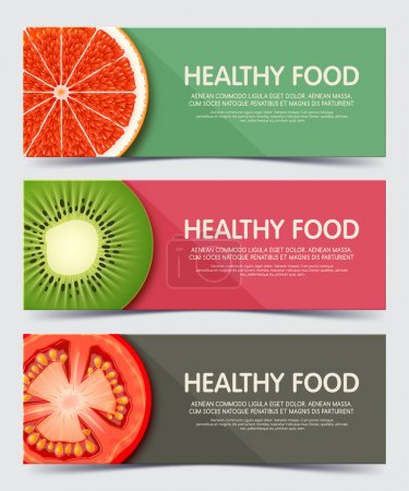 Set of illustration concept banner for healthy food. Web banners and printed materials.