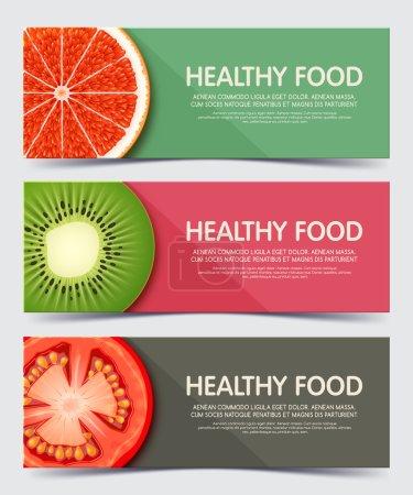 Illustration for Set of illustration concept banner for healthy food. - Royalty Free Image