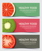 Set of illustration concept banner for healthy food Web banners and printed materials