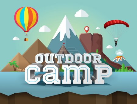 Illustration for Outdoor camp, poster with 3d text. Travel and tourism - Royalty Free Image