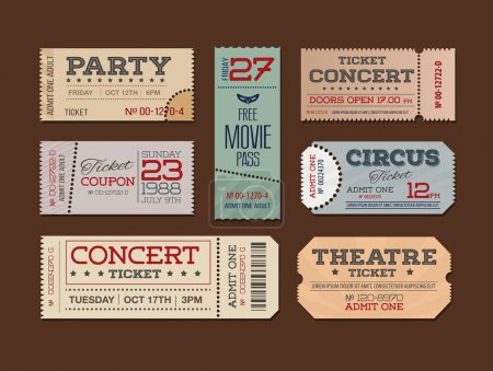 Theater and cinema Tickets & Coupons. A collection of  vector Ti