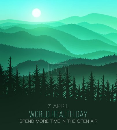 World Health Day, background with beautiful nature. Often spend time in nature and will be healthy