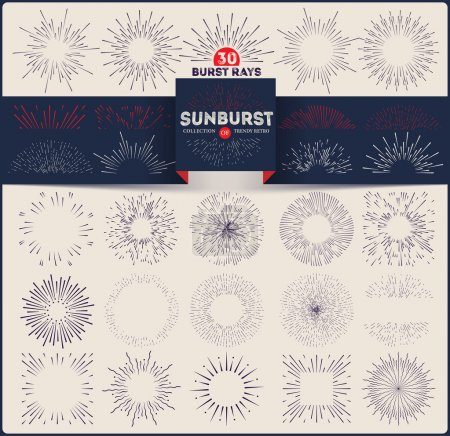Collection of trendy retro sunburst. Bursting rays design elements