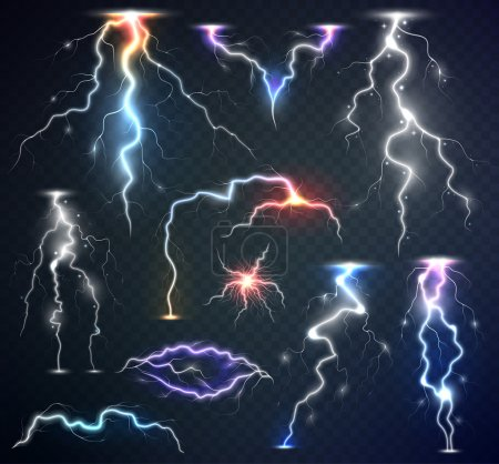 Set of the isolated realistic lightnings with transparency for design. Natural effects. Magic and bright lighting effects. Thunder-storm and lightnings.
