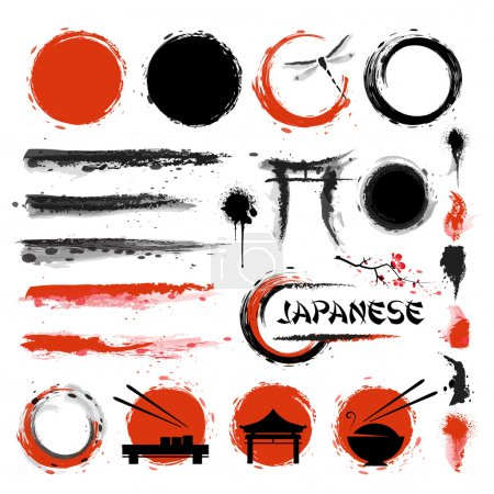 Illustration for Traditional Japanese style. Set of brushes and other design elements - Royalty Free Image