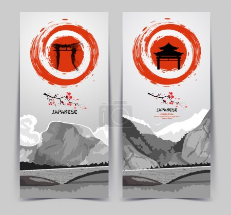 Illustration for Vertical banners with mountains.Rising sun. Traditional Japanese painting. - Royalty Free Image