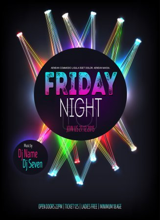 Night Disco Party Poster witht glowing lines. Background Template - Vector Illustration
