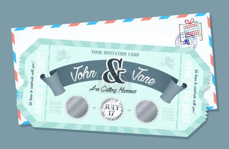 Wedding invitation card with scratch off element. Retro style Ticket.