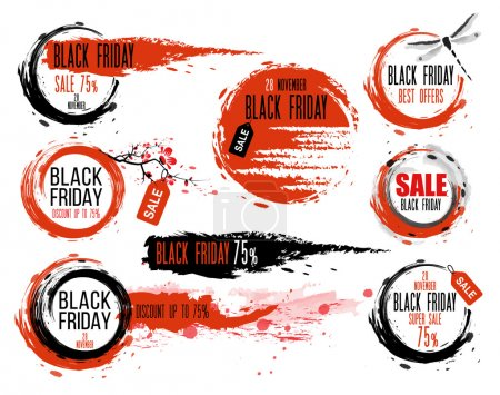 Black Friday sale Hand-drawn ink badges. Traditional Japanese style. Sale Tag. Special offer