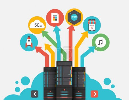 Cloud Storage. Abstract flat vector illustration of cloud storage and development concepts. Elements for mobile and web applications.