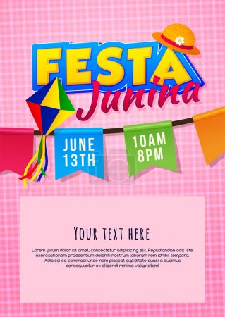 Festa Junina poster. Brazilian june party. Latin American holiday background.