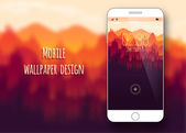 Colorful mobile interface wallpaper on blurred background Mobile Wallpaper Clean and modern design Nature Vector illustration