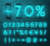 Neon Light Alphabet Vector Font Numbers and punctuation marks Neon tube letters on Brick wall background