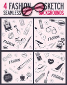 Four seamless pattern Beauty and wellness items Vector background for your design It can be used for packing Seamless background