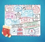Christmas stamps set Retro Christmas stamp Passport Stamps