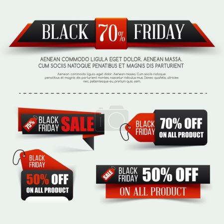 Set of Black friday sale. Vector illustration. Black paper banner. Grouped for easy editing.