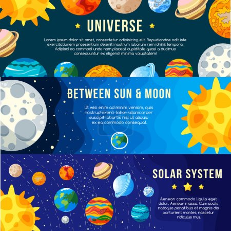 Set of Space banners concepts. Solar system. Vector