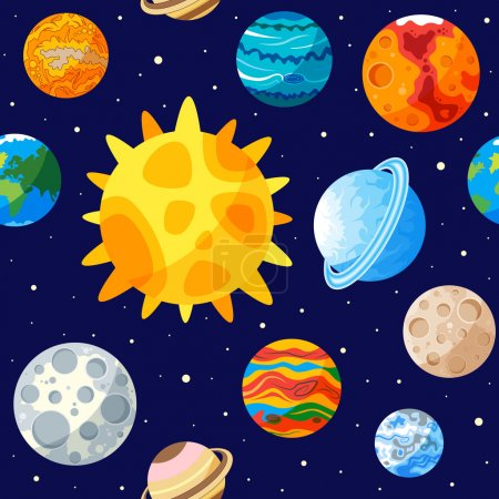 Illustration for Seamless pattern of Solar system - Royalty Free Image