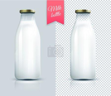 Illustration pour Bouteille de lait traditionnelle en verre. Flacon de lait isolé . - image libre de droit