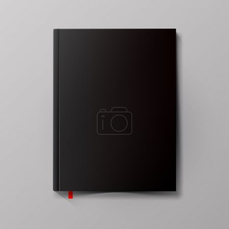 Illustration for Blank black book cover on gray background - Royalty Free Image