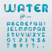 Vector latin alphabet stylization of  drop water Font style