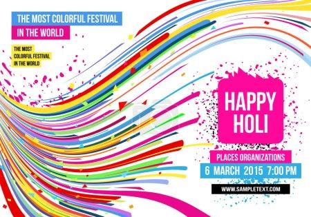 Illustration pour Joyeuses célébrations Holi avec éclaboussures multicolores et bandes sur fond blanc - image libre de droit