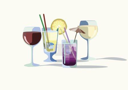 Illustration pour Cocktail boissons vectoriel. Rafraîchissements d'été ensemble de boissons collection - image libre de droit