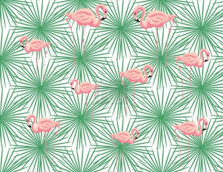 Pink Flamingos and palm leaves pattern.