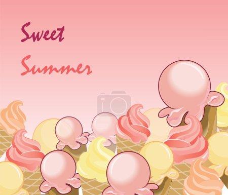 Ice Cream Background. Sweet summer text. Vector...