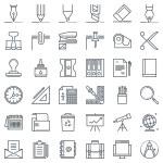 Постер, плакат: Thirty six office tools icon set