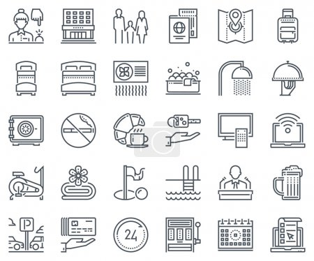 Illustration for Hotel icon set suitable for info graphics, websites and print media and  interfaces. Line vector icons,signs. - Royalty Free Image