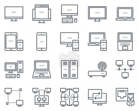 Illustration for Technology and computers icon set suitable for info graphics, websites and print media and  interfaces. Line vector icons. - Royalty Free Image