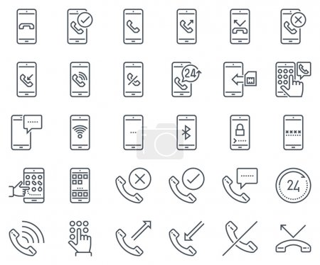 Phone calls, mobile phone icon set