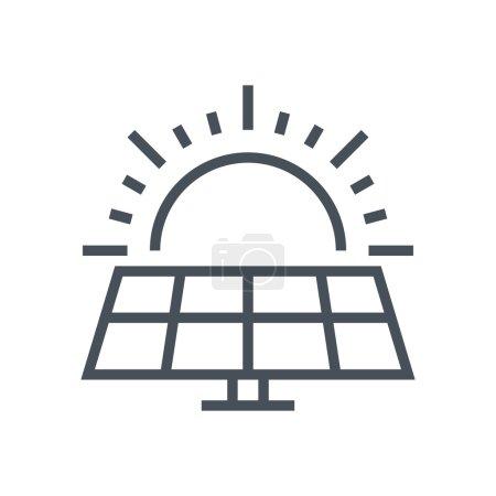 Illustration pour Icône de l'énergie solaire adapté pour les graphiques d'information, les sites Web et les médias imprimés et les interfaces. Icône vectorielle ligne . - image libre de droit