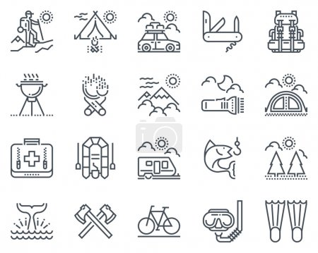 Illustration for Camping icon set suitable for info graphics, websites and print media and  interfaces. Line vector icon set. - Royalty Free Image