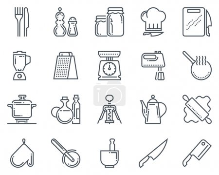 Illustration for Kitchen, kitchenware icon set suitable for info graphics, websites and print media and  interfaces. Line vector icon set. - Royalty Free Image