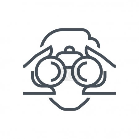 Illustration for Binoculars, look icon suitable for info graphics, websites and print media and  interfaces. Line vector icon. - Royalty Free Image