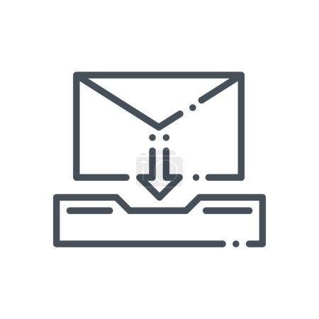 Ilustración de Inbox theme icon suitable for info graphics, websites and print media and  interfaces. Hand drawn style, pixel perfect line vector icon. - Imagen libre de derechos