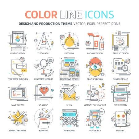 Color line, design concept illustrations, icons