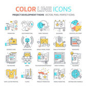 Color line marketing concept illustrations icons