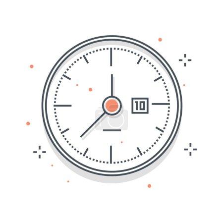 Color line, clock illustration