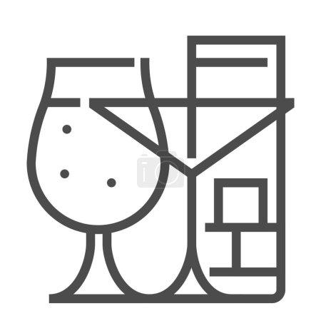Illustration pour Pub, icône vectorielle à ligne carrée - image libre de droit
