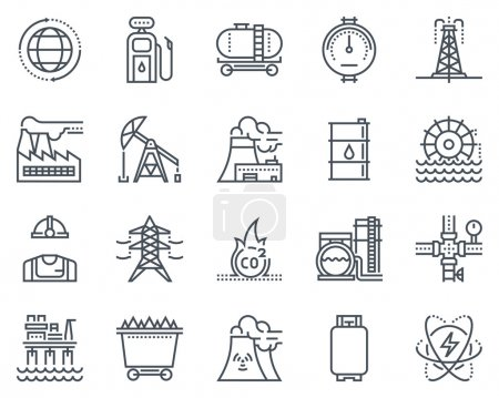 Photo for Energy industry icon set suitable for info graphics, websites and print media. Black and white flat line icons. - Royalty Free Image