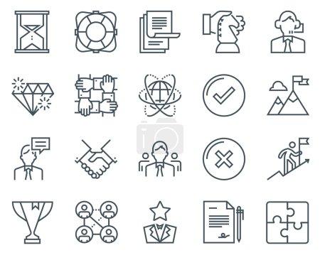 Illustration pour Ensemble d'icônes d'affaires adapté aux infographies, aux sites Web et aux médias imprimés. Icônes de ligne plate noir et blanc . - image libre de droit