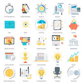 Business and finance theme flat style colorful vector icon set