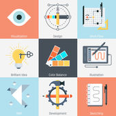 Design and production theme flat style colorful vector icon set