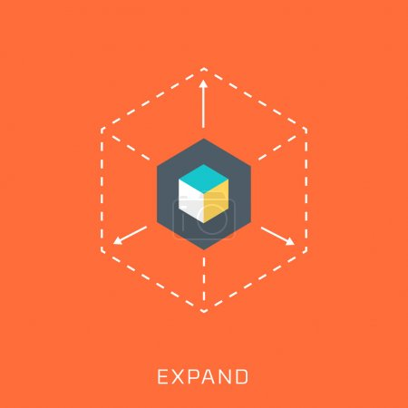 Expand, flat style, colorful, vector icon