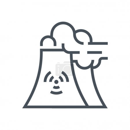 Illustration for Nuclear plant icon suitable for info graphics, websites and print media and  interfaces. Line vector icon. - Royalty Free Image
