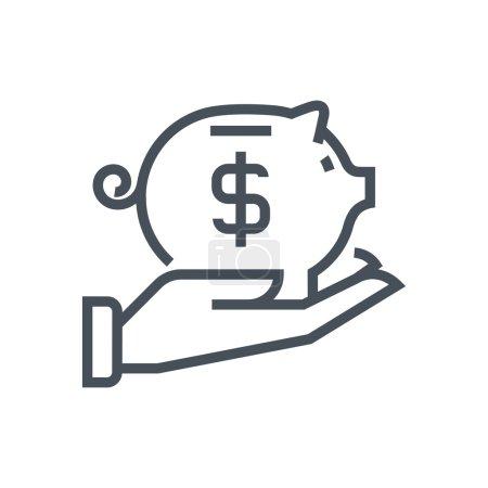 Illustration pour Icône de tirelire adaptée aux graphiques d'information, aux sites Web et aux médias imprimés et interfaces. Icône vectorielle ligne . - image libre de droit