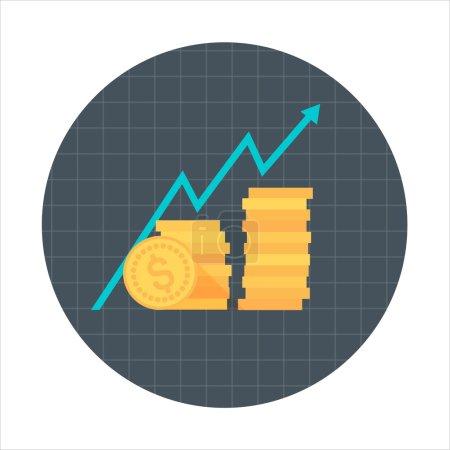 Illustration pour Thème de croissance d'entreprise, style plat, coloré, icône vectorielle pour les graphiques d'information, les sites Web, les médias mobiles et imprimés . - image libre de droit